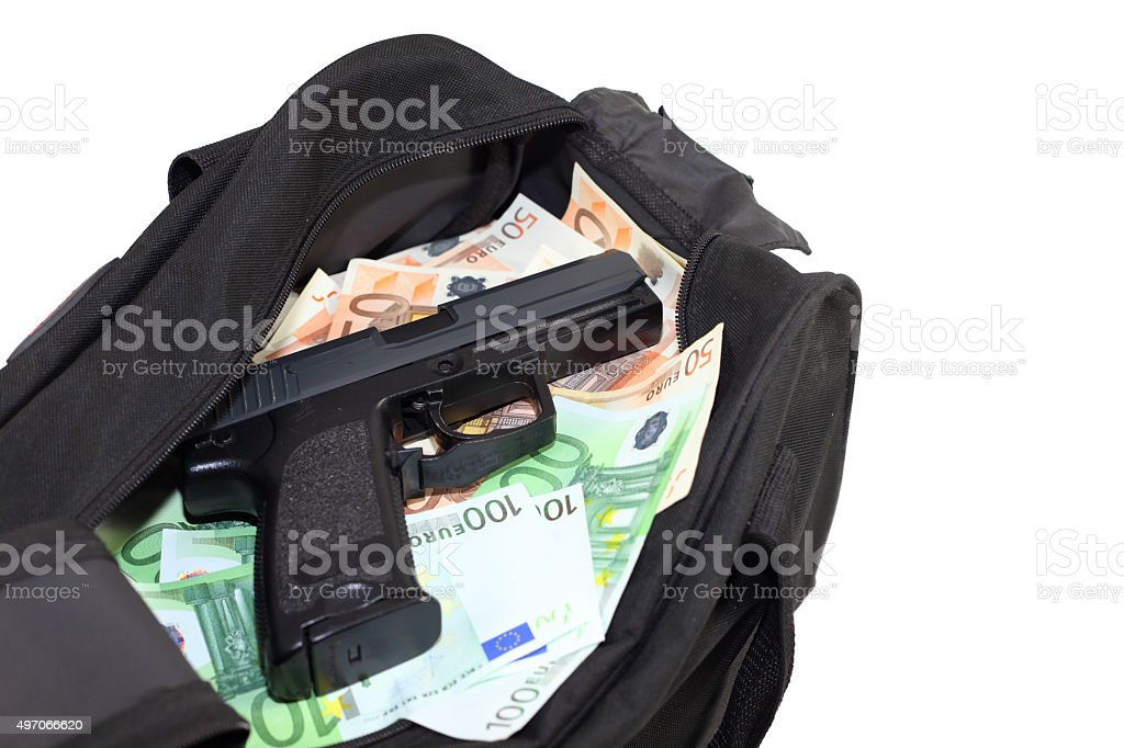 Loot from bank robbery stock photo