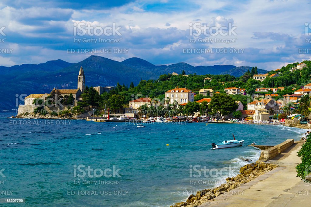 Lopud Beach and Port stock photo
