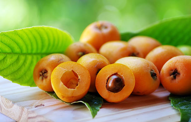 Loquat Medlar fruit isolated on a green background stock photo