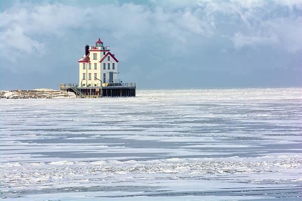 Lorain Lighthouse in Winter stock photo