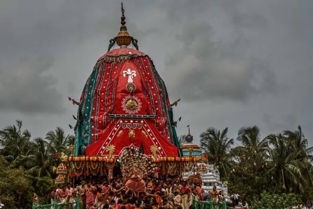 Lord Balabhadra Chariot: Taladhwaja canopy color : green and red Rath yatra or Cart festival of Jagannath  Puri ; Orissa
