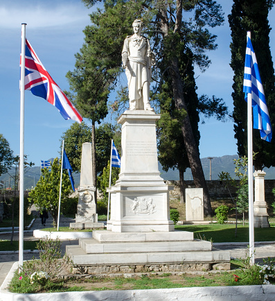 Lord Byron Statue In Garden Of Heroes In Missolonghi Greece Stock Photo - Download Image Now - iStock