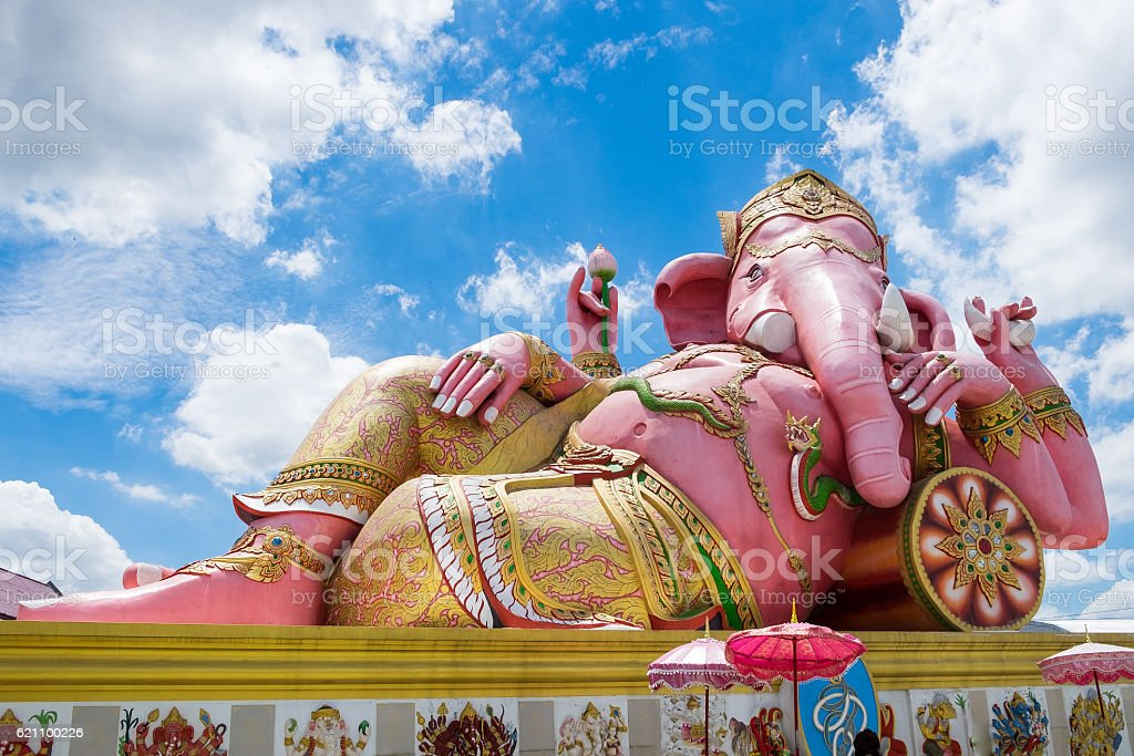 Lord ganesh big statue pink sleep at wat saman temple stock photo