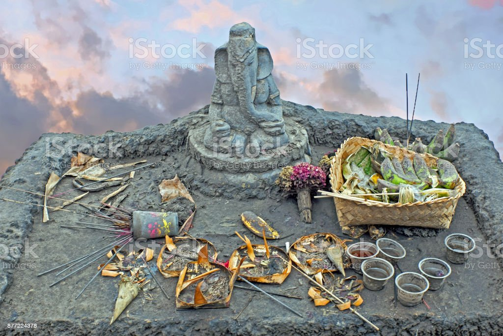 Lord Ganesha on top of the Bromo vulcano on Java Indonesia stock photo