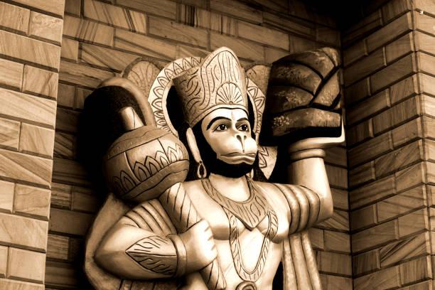 Lord Jai Hanuman Hindu God jai hanuman statue in sepia toned. hanuman stock pictures, royalty-free photos & images