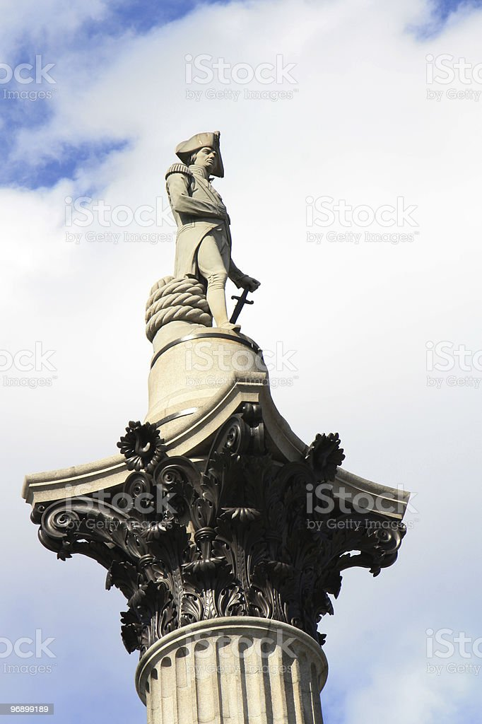 Lord Nelson statue in Trafalgar Square royalty-free stock photo