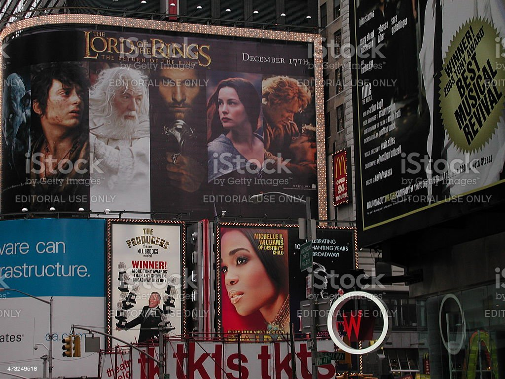 Lord of the Rings and musical Billboards in Times Square stock photo