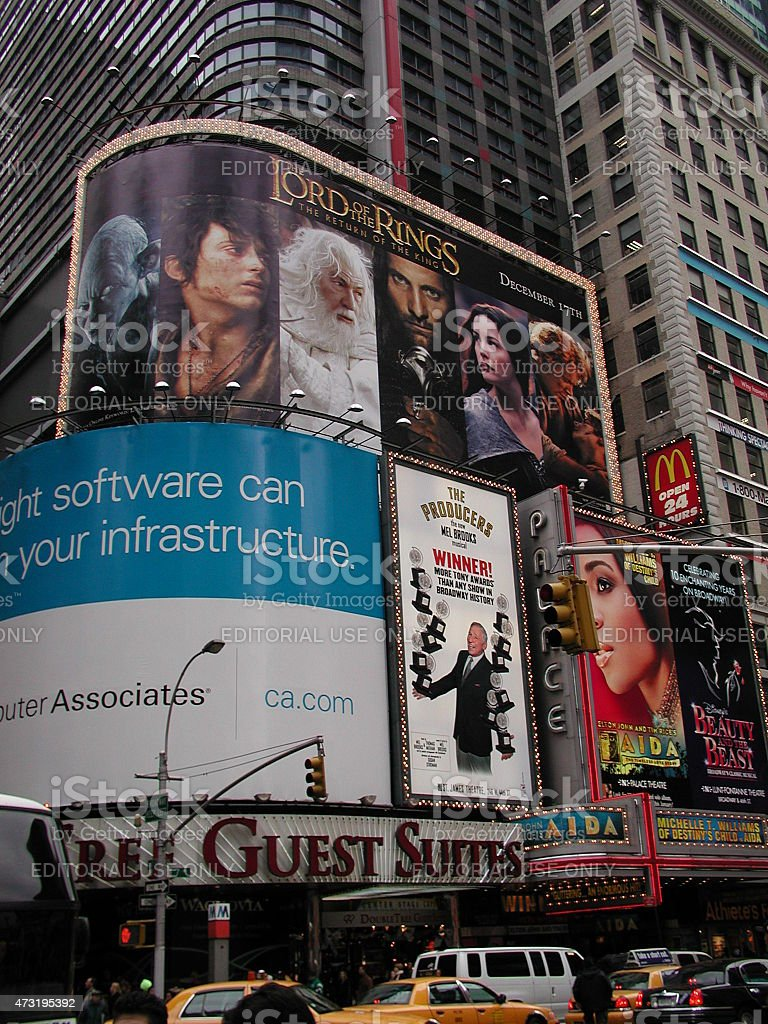Lord of the Rings billboard in Times Square NYC 2003 stock photo