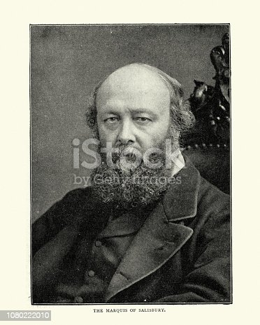Victorian photo of Lord Salisbury,  British statesman and Conservative Party politician, serving as Prime Minister three times for a total of over thirteen years. He was the last Prime Minister to head his full administration from the House of Lords.