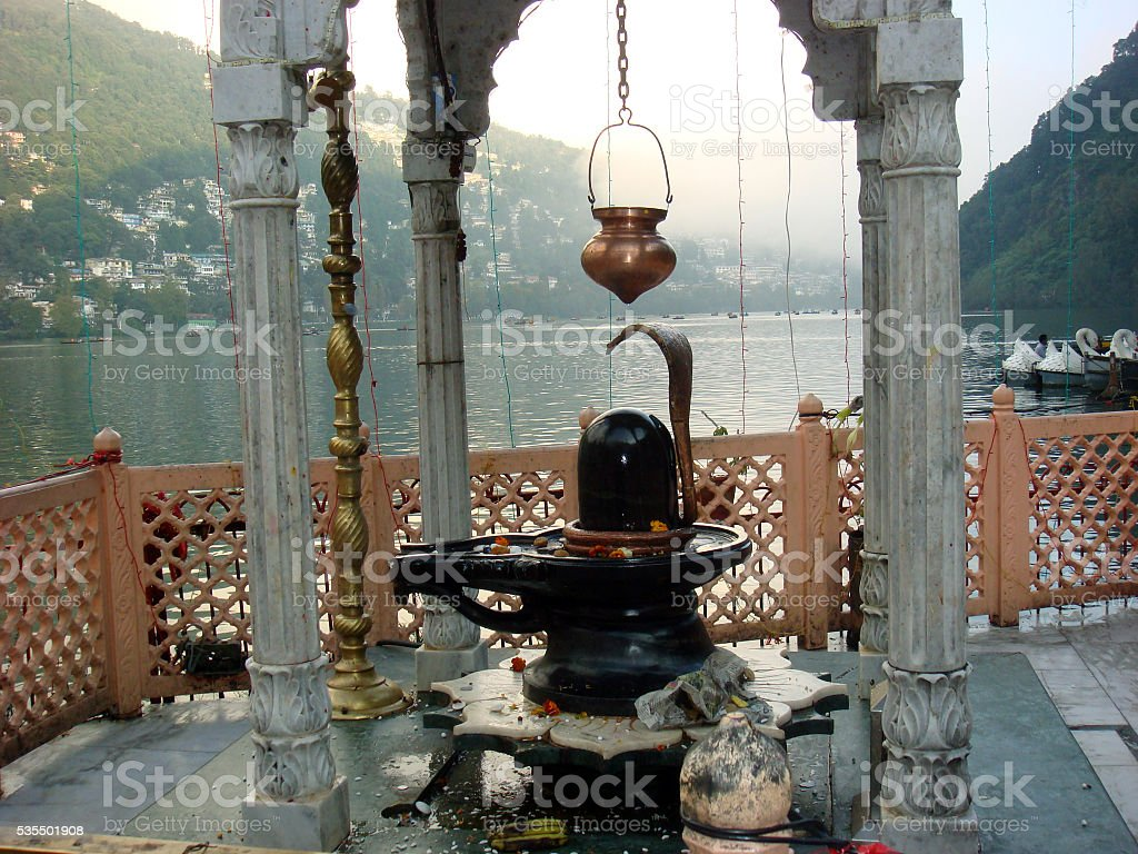 Lord Shiva Temple at Naini Lake stock photo