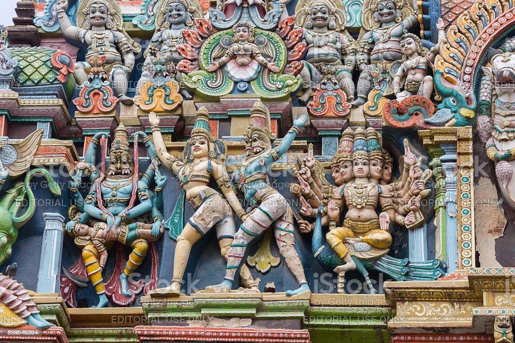 Lord Vishnu as Narasimha and Lord Murugan on his peacock. photo libre de droits