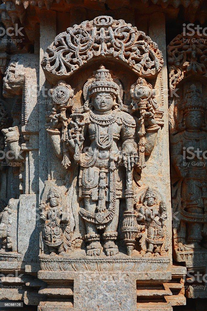 Lord Vishnu Curving at Somnathpure royalty-free stock photo