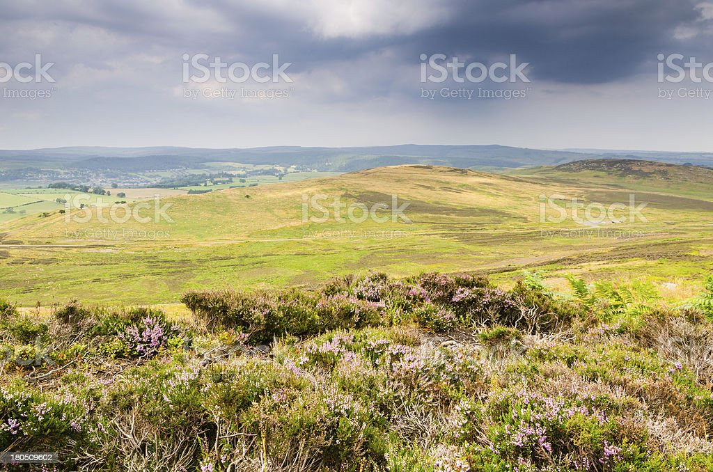 Lordenshaws ancient hill fort site stock photo