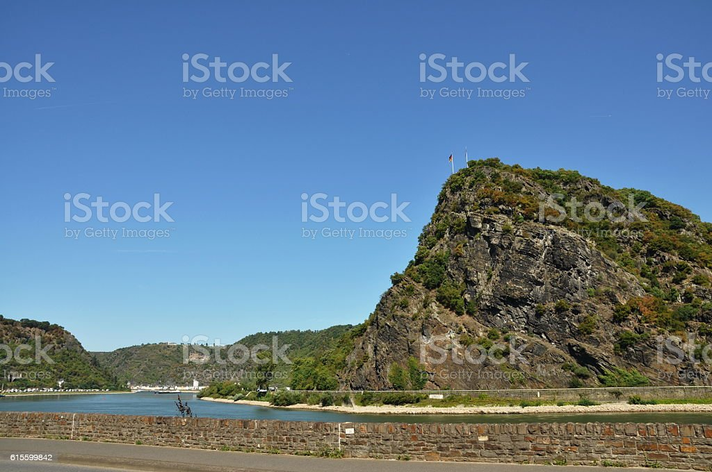 Loreley rock on the bank of the Rhine, near St. Goarshausen, stock photo