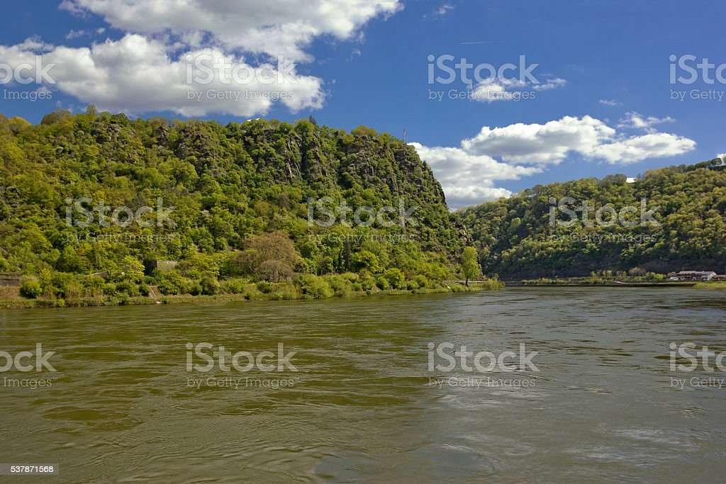 Loreley Rock on the Rhine at St. Goar, Germany stock photo