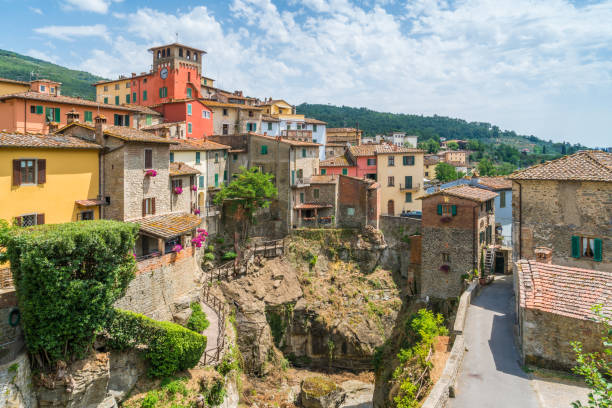 Loro Ciuffenna, village in the Province of Arezzo in the Italian region Tuscany. Central Italy. Loro Ciuffenna, village in the Province of Arezzo in the Italian region Tuscany. Central Italy. arezzo stock pictures, royalty-free photos & images