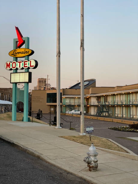 Lorraine Motel sign at the National Civil Rights Museum stock photo