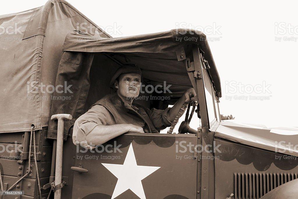 WW2 Lorry driver. stock photo