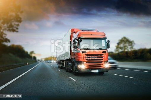 Lorry on M1 motorway in motion near London