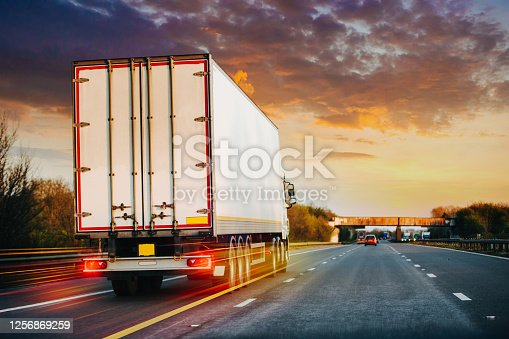 Lorry on M1 motorway in motion near London
