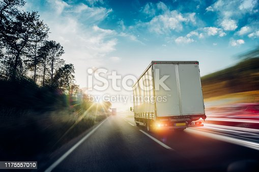 506292564 istock photo Lorry on motorway in motion 1175557010