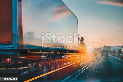 istock Lorry on motorway in motion 1198082588