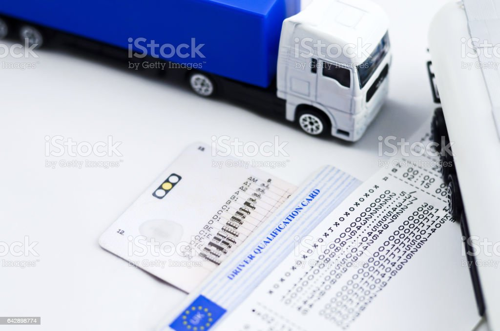 Lorry tachograph print out stock photo
