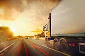 istock Lorry Traffic Transport on motorway in motion 1183117802