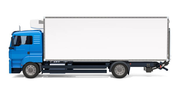 Lorry with isothermal van, side view. 3D rendering isolated on white background stock photo