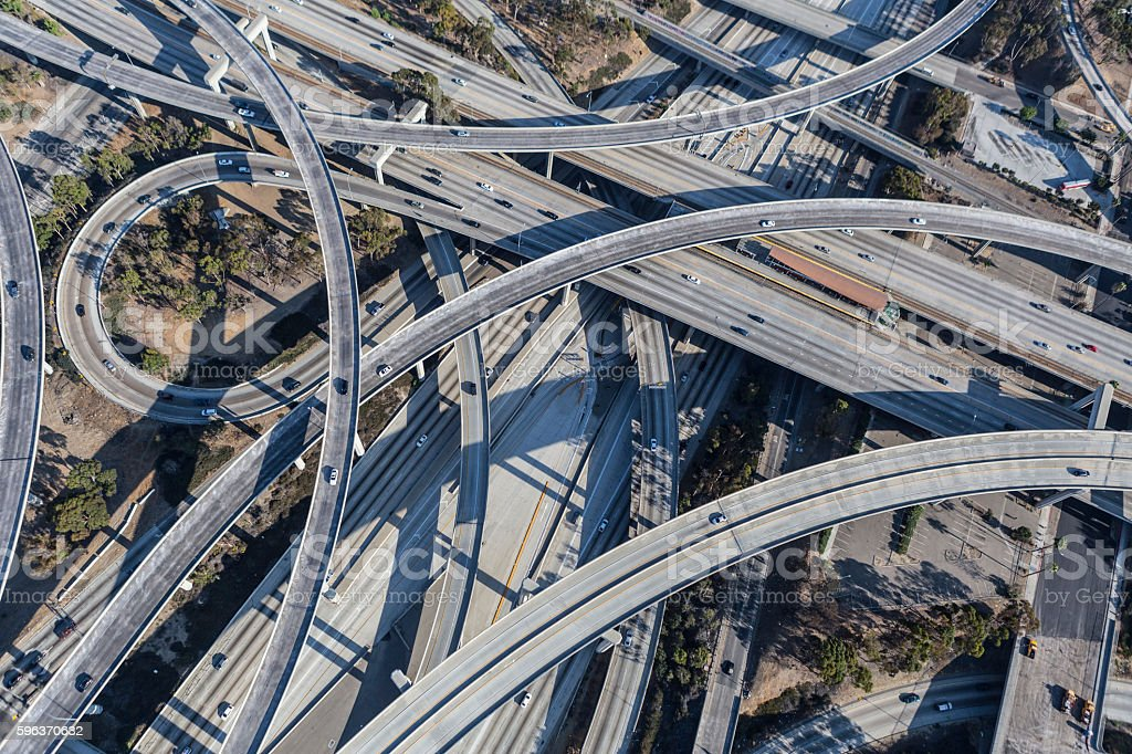 Los Angeles 110 and 105 Freeway Interchange Ramps Aerial stock photo