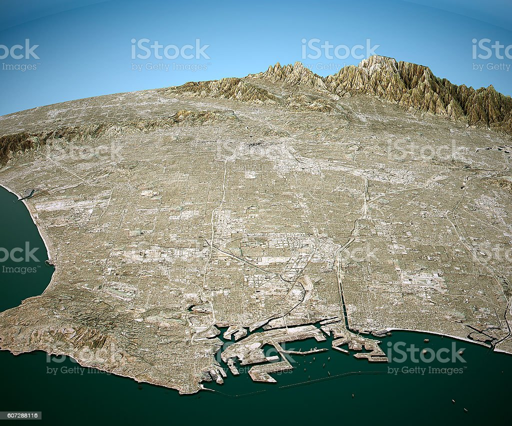 Los Angeles 3D Aerial View Natural Color stock photo