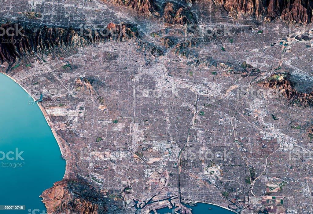 Los Angeles 3d Render Satellite View Topographic Map Horizontal