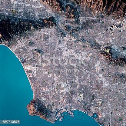 istock Los Angeles 3D Render Satellite View Topographic Map 660710578