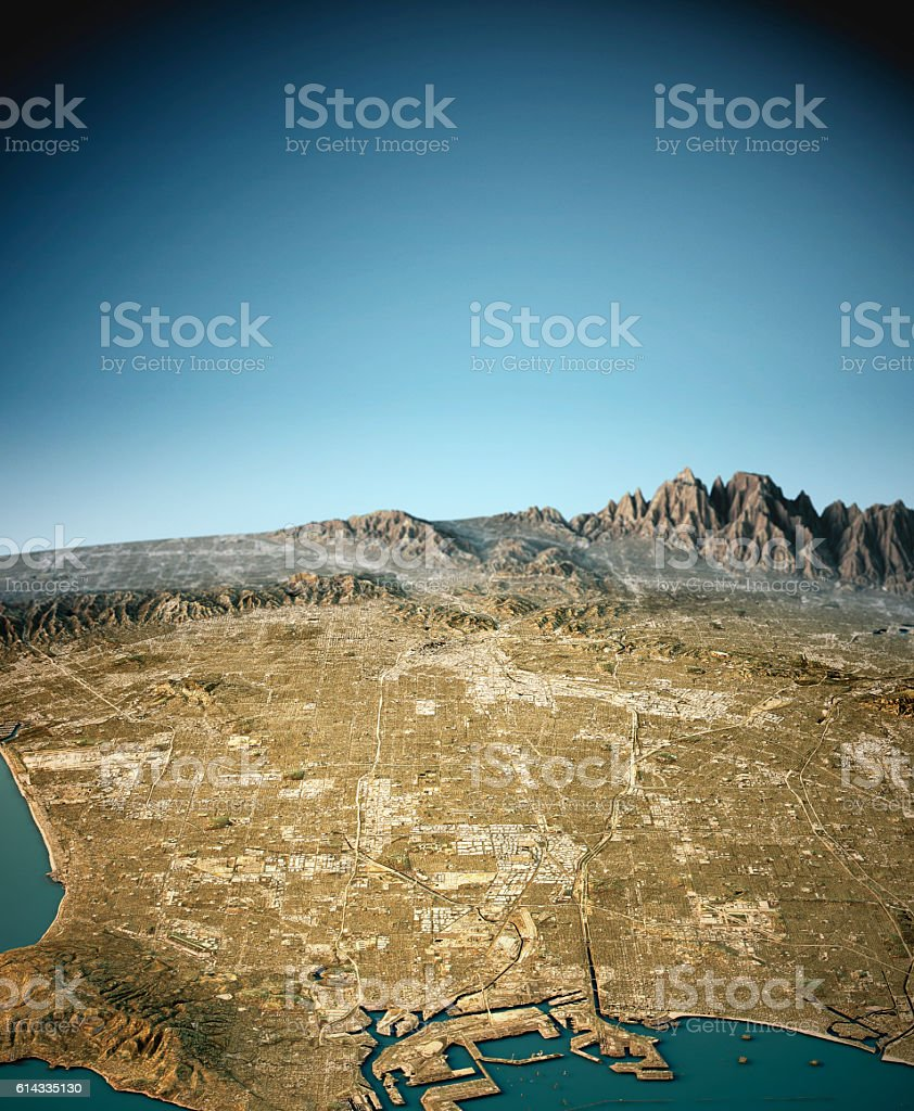 Los Angeles 3D View South-North Natural Color stock photo