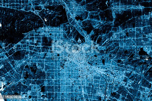 Blue toned Satellite Image of Los Angeles, California, USA. Digital Composite. Contains modified Copernicus Sentinel data (2016) courtesy of ESA. URL of source image: https://scihub.copernicus.eu/dhus/#/home. The source data is in the public domain.