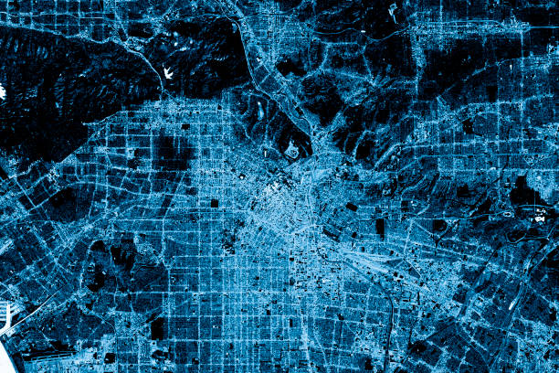 Los Angeles abstrakte Stadtkarte Top View Dark – Foto
