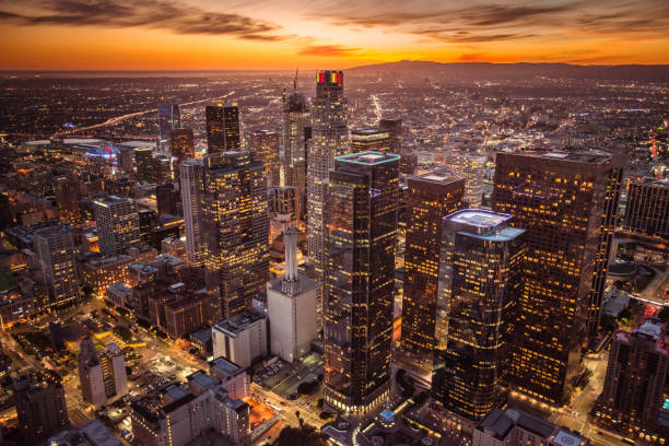 los angeles aerial view stock photo