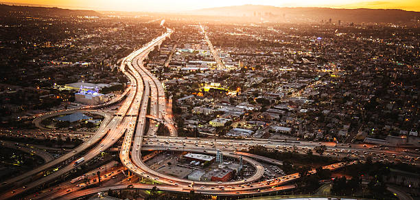Los Angeles aerial view skyline Los Angeles aerial view skyline elevated road stock pictures, royalty-free photos & images