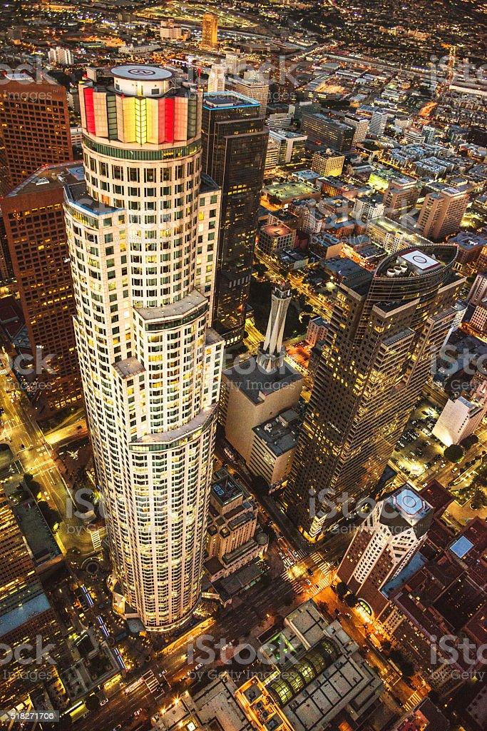 Los Angeles aerial view skyline stock photo