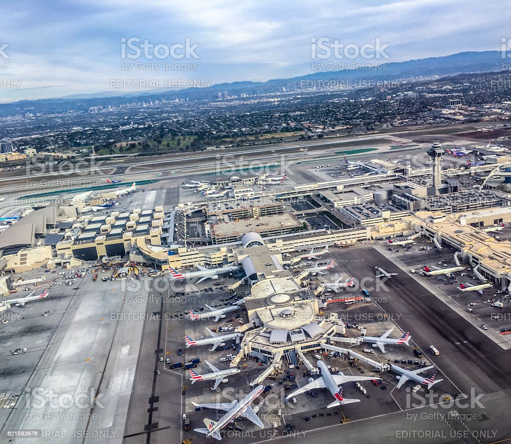 Los Angeles Airport from above, USA stock photo
