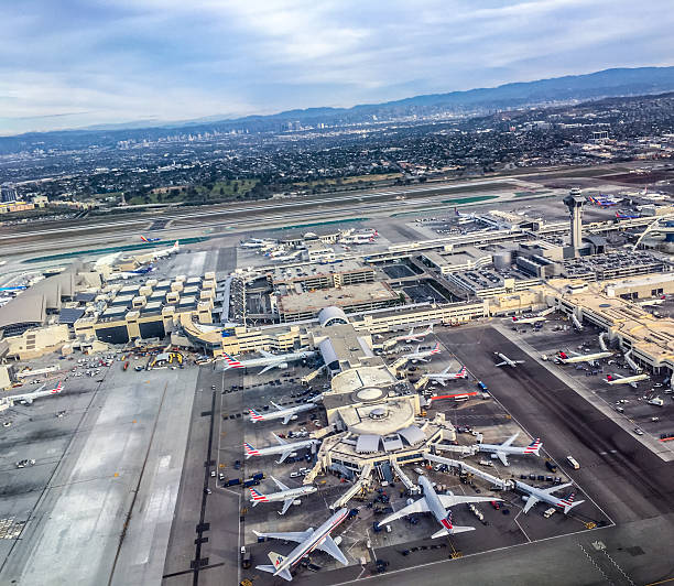 Los Angeles Airport from above, USA - foto de acervo