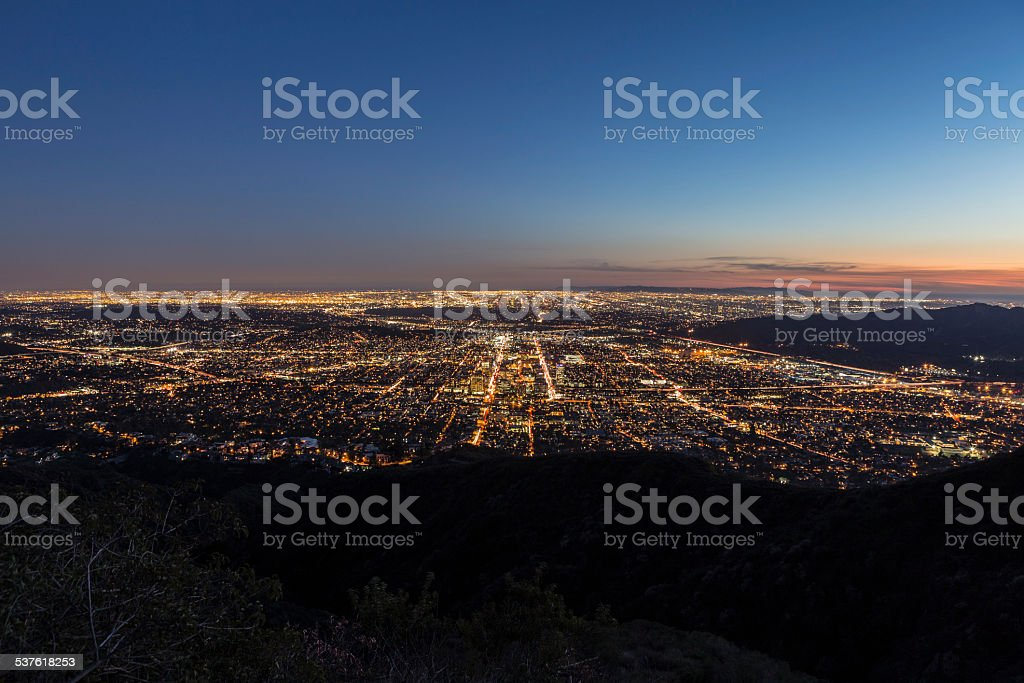 Los Angeles and Glendale Mountaintop View. stock photo