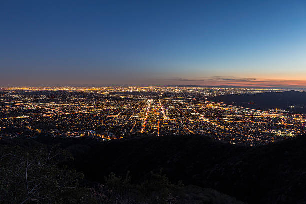 los angeles and glendale mountaintop view. - san fernando valley stock photos and pictures