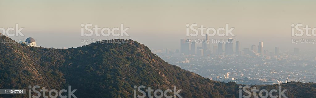 Los Angeles and Griffith Observatory - viewed from Hollywood Hills royalty-free stock photo