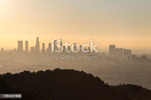 istock Los Angeles and Hollywood Dawn Cityscape 1284431506
