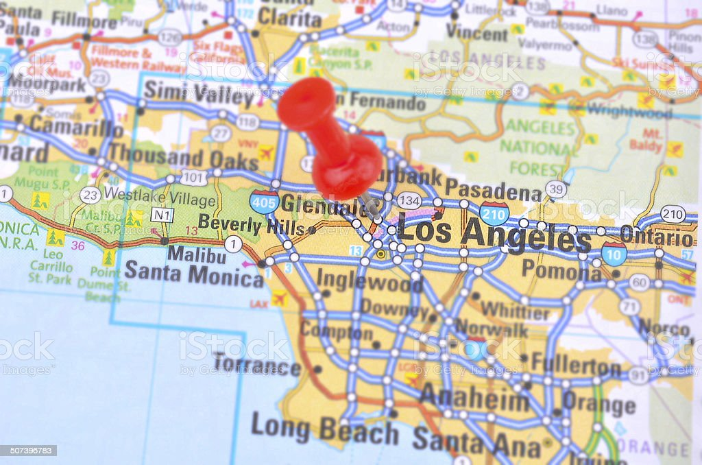 Map Of America Los Angeles.Los Angeles And Map Stock Photo Download Image Now Istock