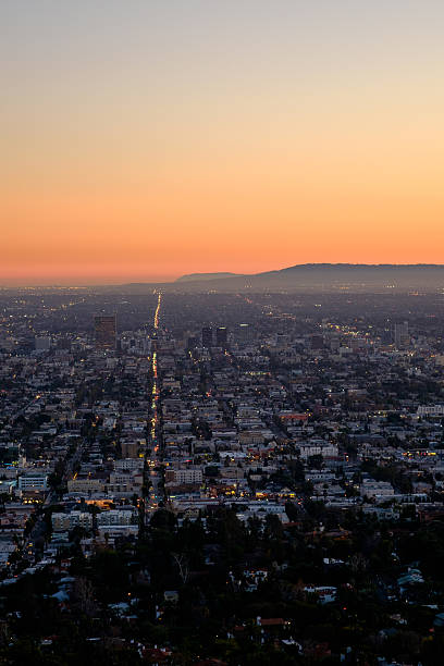 Los Angeles and Palos Verdes from Griffith Observatory stock photo