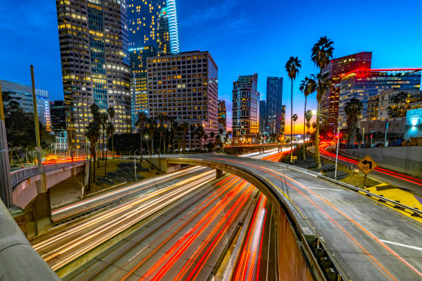 Los Angeles and Traffic at Dusk stock photo