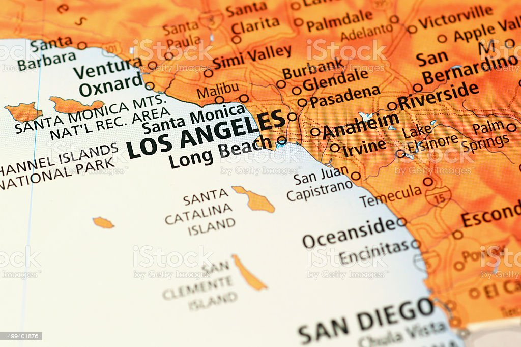 Los Angeles area on a map stock photo
