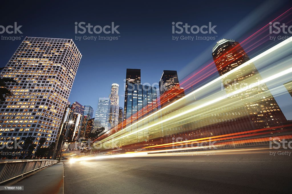 Los Angeles at night stock photo